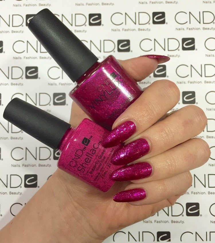 Купить шеллак Shellac CND Butterfly Queen №C90798 - шеллак пурпурный, плотный, с голографическим глиттером